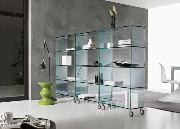 'Libreria' Perfect use of space and easier movement, thanks to these stacking elements on rubber castors.