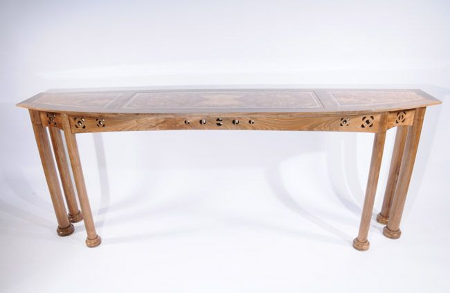 Console Table. English walnut and burr olive ash. Internal lighting and silver inlay. #SAFF #consoletable #bespokefurniture #interiordesign