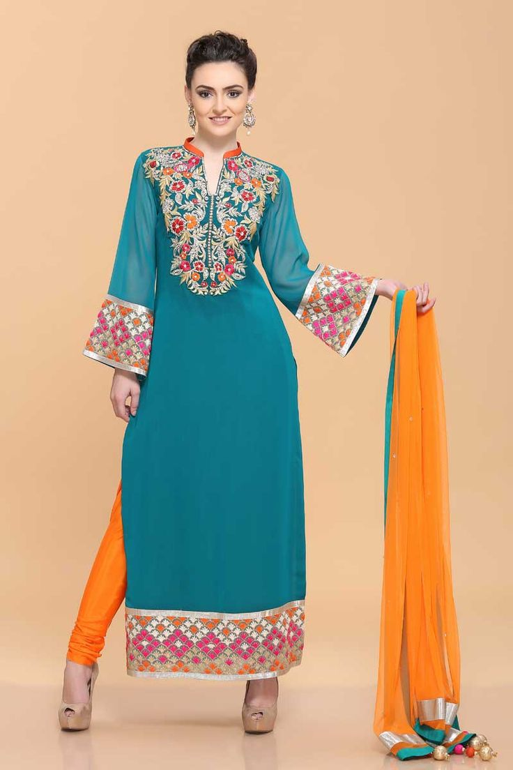 Andaaz Fashion Persented By Turquoise Green Georgette suit with churidar pant with price $123.45. Neck & daman with Multi colour resham embroidery. Net dupatta, Churidar pant.  http://www.andaazfashion.us/turquoise-green-georgette-churidar-suit-1629.html