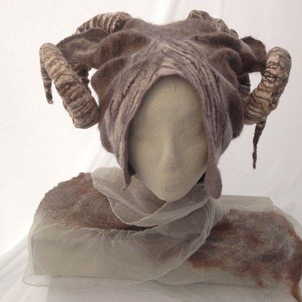 felted horned hat