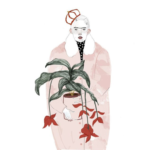 Woman with a unibrow holding a potted plant