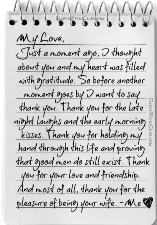 Letter to husband