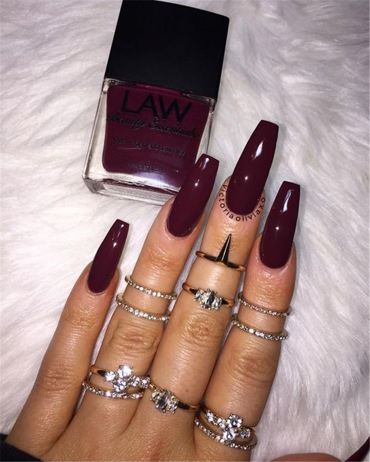 50 Gorgeous Burgundy Nail Color With Designs For Fall Season – Page 29 of 50  – Nail Art Design
