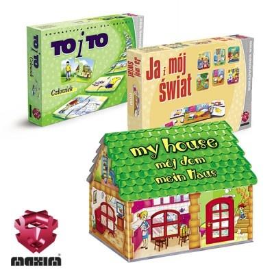 Zestaw 3 gier edukacyjnych,podczas których dziecko uczy się kojarzyć i łączyć elementy z którymi spotyka się w typowych sytuacjach w domu i najbliższym otoczeniem.W skład zestawu wchodzi:-TO i TO Człowiek-JA I MÓJ ŚWIAT Dom-MÓJ DOMW ZESTAWIE MAXIM TANIEJ!