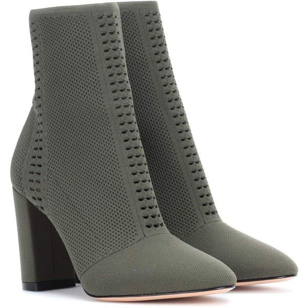 Gianvito Rossi Thurlow Knitted Ankle Boots ($1,255) ❤ liked on Polyvore featuring shoes, boots, ankle booties, green, gianvito rossi, green booties, ankle bootie boots, green ankle boots and short boots