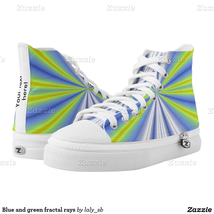 Blue and green fractal rays printed shoes
