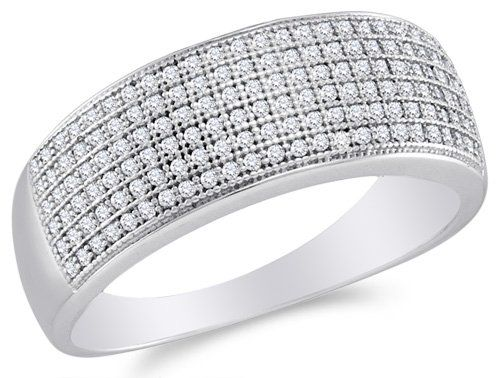 http://womendesires.getauniquegift.com/pinnable-post/10k-white-gold-diamond-wedding-anniversary-or-fashion-right-hand-ring-band-w-micro-pave-set-round-diamonds-12-cttw/ 10K White Gold Diamond Wedding , Anniversary OR Fashion Right Hand Ring Band - w/ Micro Pave Set Round Diamonds - (1/2 cttw, J - K Color, I2 - I3 Clarity)