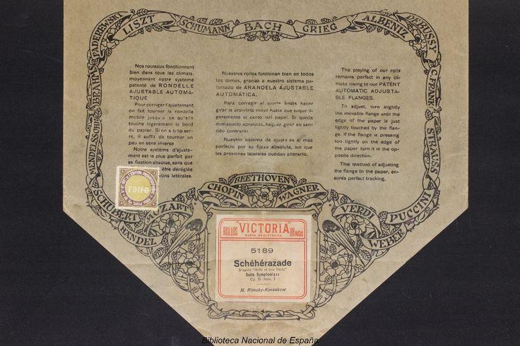 """Schéhérazade [Grabación sonora]. Núm. 1 : d'aprés """"Mille et      une nuits"""" : suite symphonique, op. 35 / Rimsky-Korsakow. --      [Barcelona] : Rollos Victoria, [entre 1905 y 1920]          1 rollo de pianola : 65 notas ; 32 cm"""