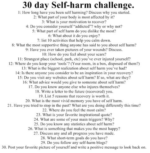 30 self harm challenge some of you beautiful peope try this