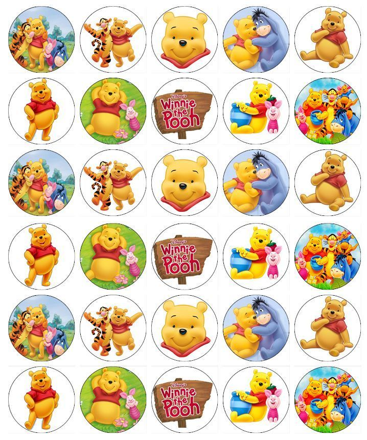 30 x Winnie The Pooh Cupcake Toppers Edible Wafer Paper Fairy Cake Toppers | eBay
