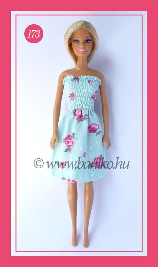 Türkiz-pink virágos Barbie strandruha