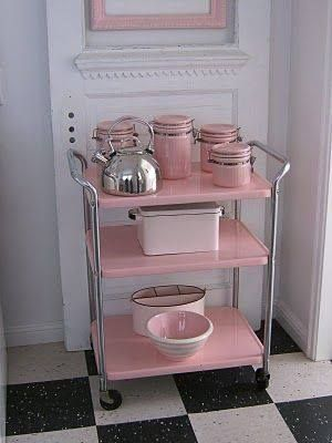 Really cute vintage bar cart for mixology classes & storage of glassware. Preferable in a different color, but that's easy. Gold or seafoam green, maybe!