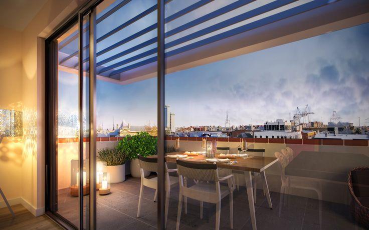 3D Render - photorealism - interiors - architecture - fremantle - balcony - urban living - sunset