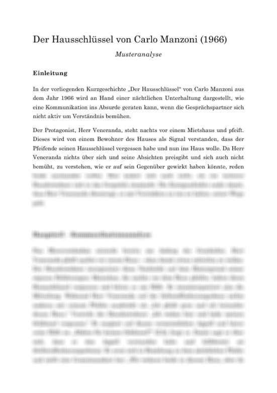 Interpretationsaufsatz Kurzgeschichte Landesbildungsserver