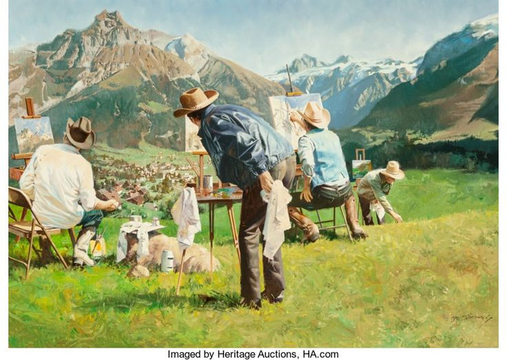 Fine Art - Painting, American, Oleg Stavrowsky (Russian/American, b. 1927). Swiss High. Oilon canvas. 26 x 36 inches (66.0 x 91.4 cm). Signed lower ri...
