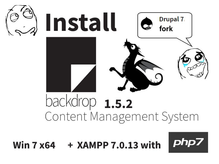 Install #Backdrop CMS 1.5.2 on Windows 7 x64 localhost ( XAMPP 7.0.13 with #php7 ) #Drupal 7 fork - #open source PHP content management  system
