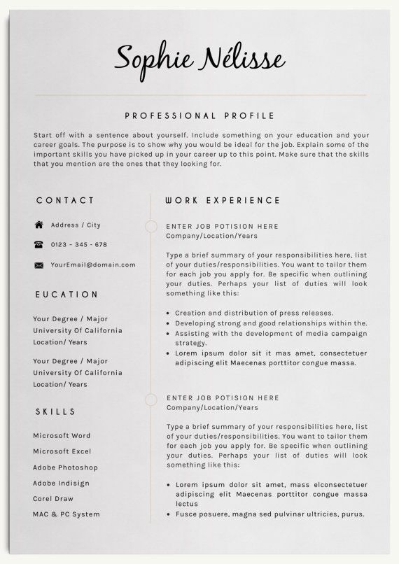 Resume Template Elegant Resume Template For Word Cv Template Instant Download A4 Us Letter 40 Off Shopie Nelisse Resume Template Professional Job Resume Resume Tips