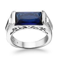 Wish | Men's 925 Sterling Silver CZ Rectangle Sapphire Wedding Band Ring SZ 7 8 9