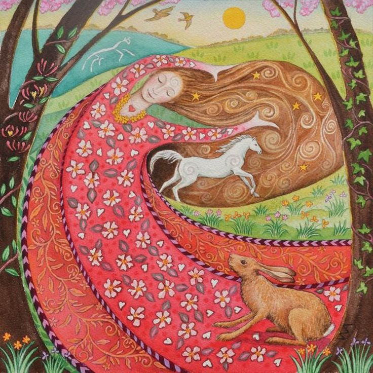 Goddess Beltane -Circa 1st May -Rhiannon the lover, dances the blossoms into being! White horse maiden brings joy, creativity and a lust for life! A time of love and celebration! xo