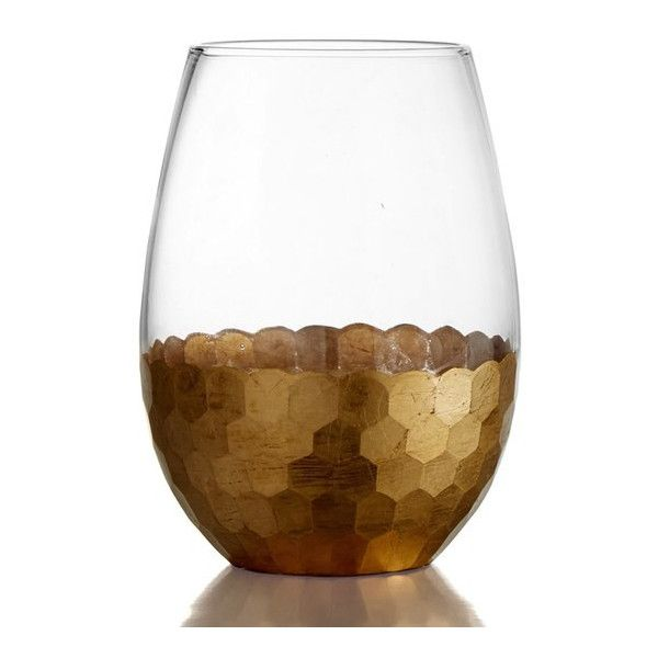 AMERICAN ATELIER Daphne Set of 4 Stemless Wine Glasses (250 CNY) ❤ liked on Polyvore featuring home, kitchen & dining, drinkware, gold, american atelier, gold wine glass and gold wine glasses