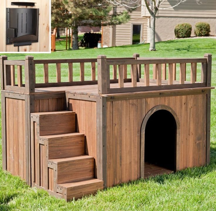 Wood Dog House + Heater Outdoor Tent Weatherproof Large Pet Shelter Cage Kennel #BoomerGeorge