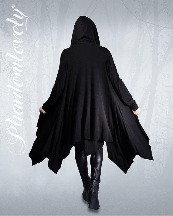 DARKNESS Hooded Jacket Cloak Thumbhole Sleeves by phantomlovely, $118.00