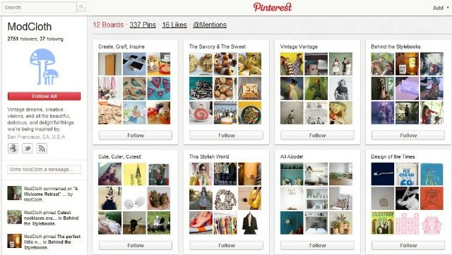 """ModCloth joined Pinterest in the fall of 2011, but it's already one of ModCloth.com's top unpaid referral sites in terms of traffic and revenue. Why? According to Barnes, it's thanks to """"product photography and blog content that resonates with their audience."""" ModCloth has approximately 7,000 pins tagged on Pinterest, and 99% of them are from advocates of the ModCloth brand and products, she adds."""