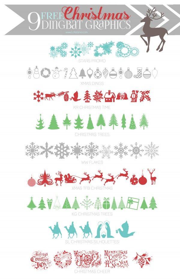 9 cute FREE Christmas Dingbat Graphics via lollyjane.com