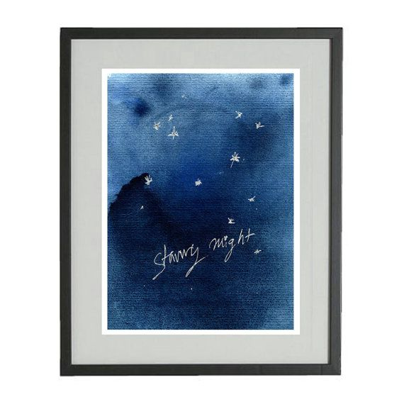 Starry night print stars art print Christmas art by TheJoyofColor