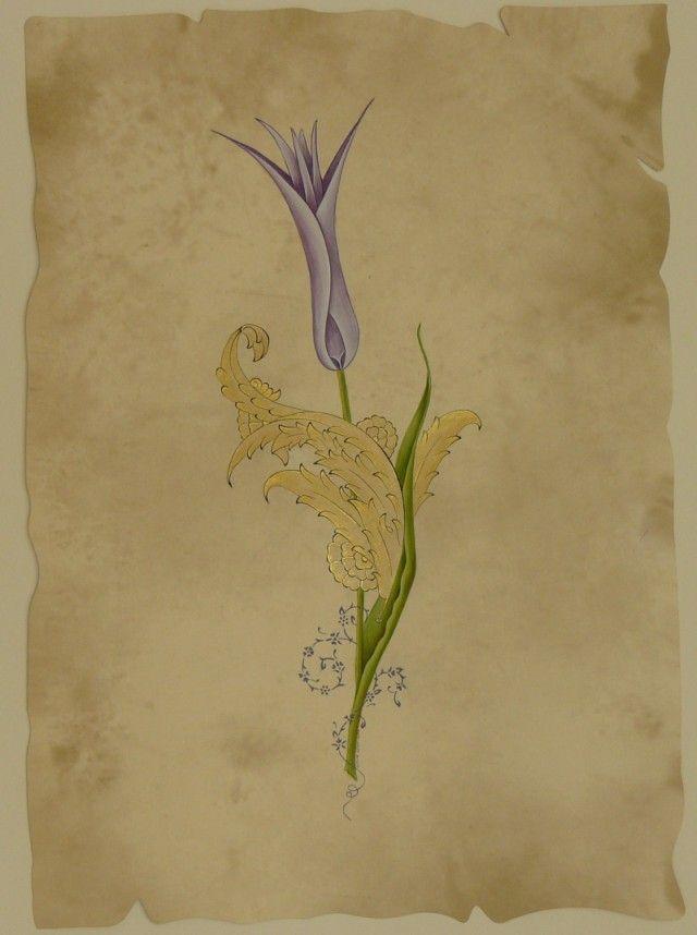 Lale 2 ( Altın, guaj 20x30 cm )-Emine Süsoy
