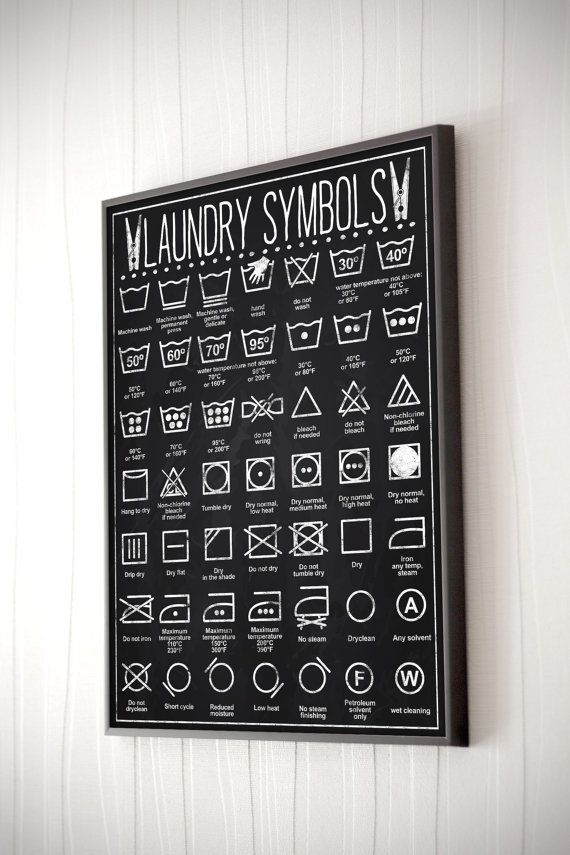 INSTANT DOWNLOAD-Chalkboard-Clothes care-Laundry by TheBlackApples