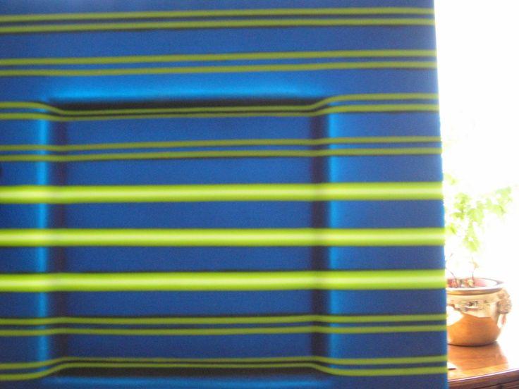 Aqua,lime and white striped fused glass