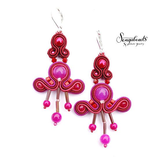Hand embroidered soutache earring in hot pink by Sengabeads