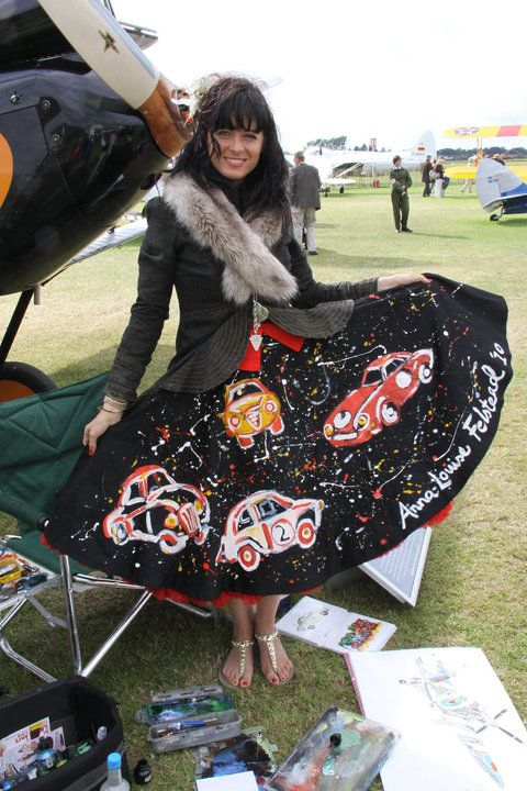 Anna-Louise wearing her hand-painted Vivien of Holloway dress at Goodwood Revival in 2010