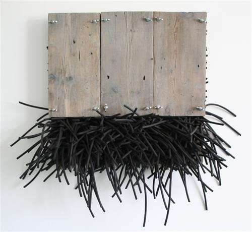 Fenced In: wood, rubber cord, wire mesh, wing nuts, bolts -by Ann Goddard