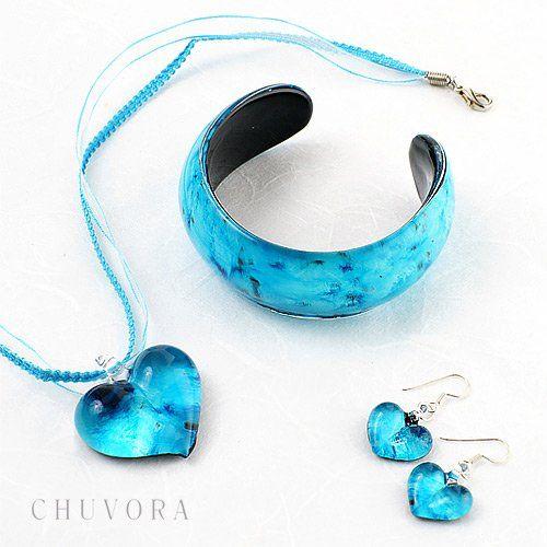 Hand Blown Venetian Murano Glass Blue Heart Shaped Pendant Women Necklace Jewelry 18''-20'': Jewelry: