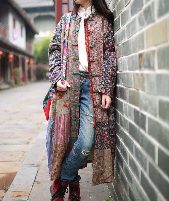 único - patchwork Vintage mujer larga chaqueta otoño primavera