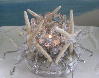 Starfish Seashell Beach Wedding Cake TopperSea by CeShoreTreasures
