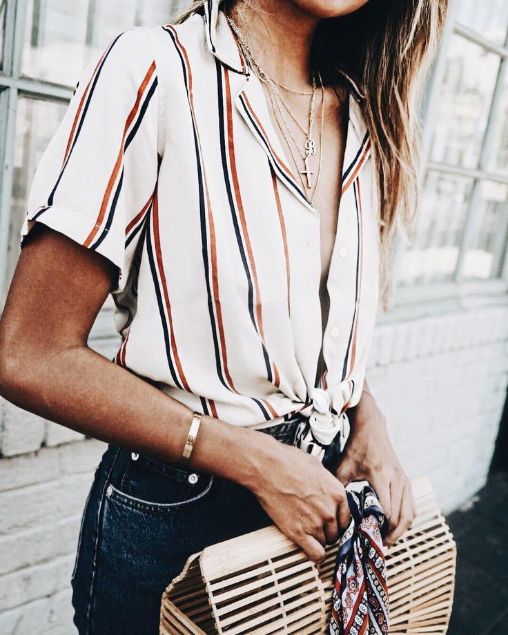 Striped top + basket bag.