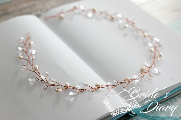 Pearls and Crystals Bridal Wreath, bridal headband, wedding rose gold hair vine by BridesDiary on Etsy https://www.etsy.com/listing/518826004/pearls-and-crystals-bridal-wreath-bridal