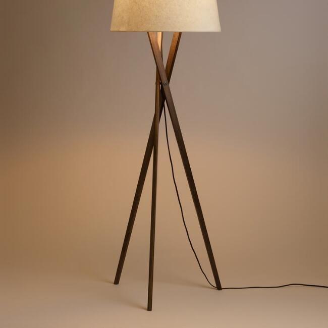 Walnut Wood Tripod Austin Floor Lamp Base - v1