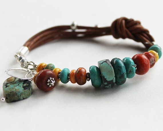 Colorful leather bracelet - Sundance Style turquoise and coral bangle bracelet