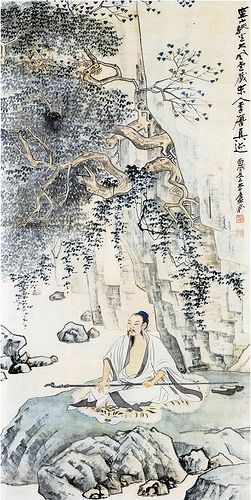 张大千-空山趺坐图 Zhang Daqian's Recluse by China Online Museum - Chinese Art Galleries