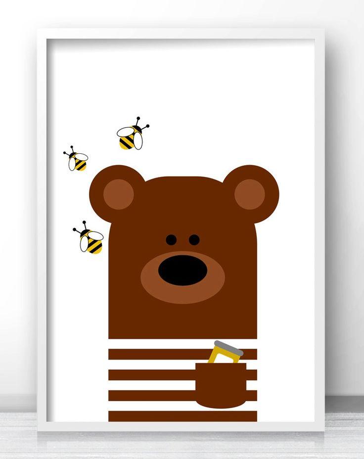 Marvelous Honey Bear Nursery Wall Art, Printable Kids Art