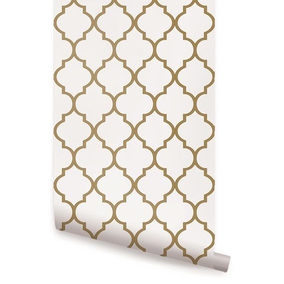 Geometric gold peel & stick fabric wallpaper. This re-positionable wallpaper is designed and made in our studios in New Jersey. The designs are