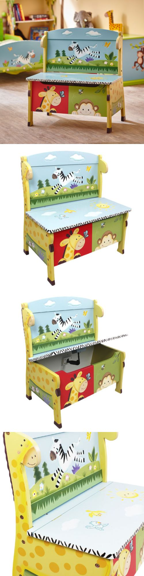 Toy Boxes 94932: Kids Storage Bench Toy Organizer Chest Box Safari Animals Children Playroom -> BUY IT NOW ONLY: $119.89 on eBay!