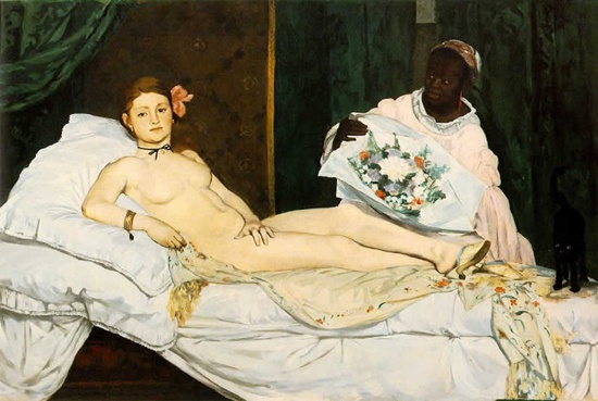 1. Manet Édouard Manet's painting Olympia (1863) caused a scandal when it was first exhibited at the 1865 Salon in Paris. Manet painted his muse Victorine Meurent, an artist and popular model of the day, as a prostitute with her maid. Manet featured Meurent in many of his paintings, including his equally famous masterpiece, Le Déjeuner sur l'Herbe (The Picnic,) which also portrayed her in the nude, although outdoors.