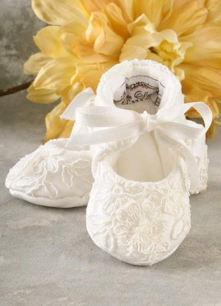 Girl Silk and lace Blessing Shoes or slippers.  www.onesmallchild.com