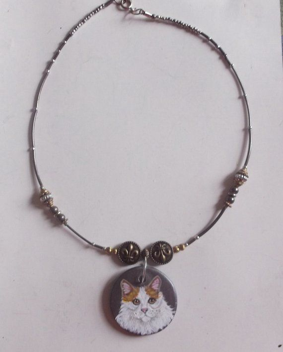 Turkish Van Cat Bead Necklace Hand Painted Ceramic Pendant – Products