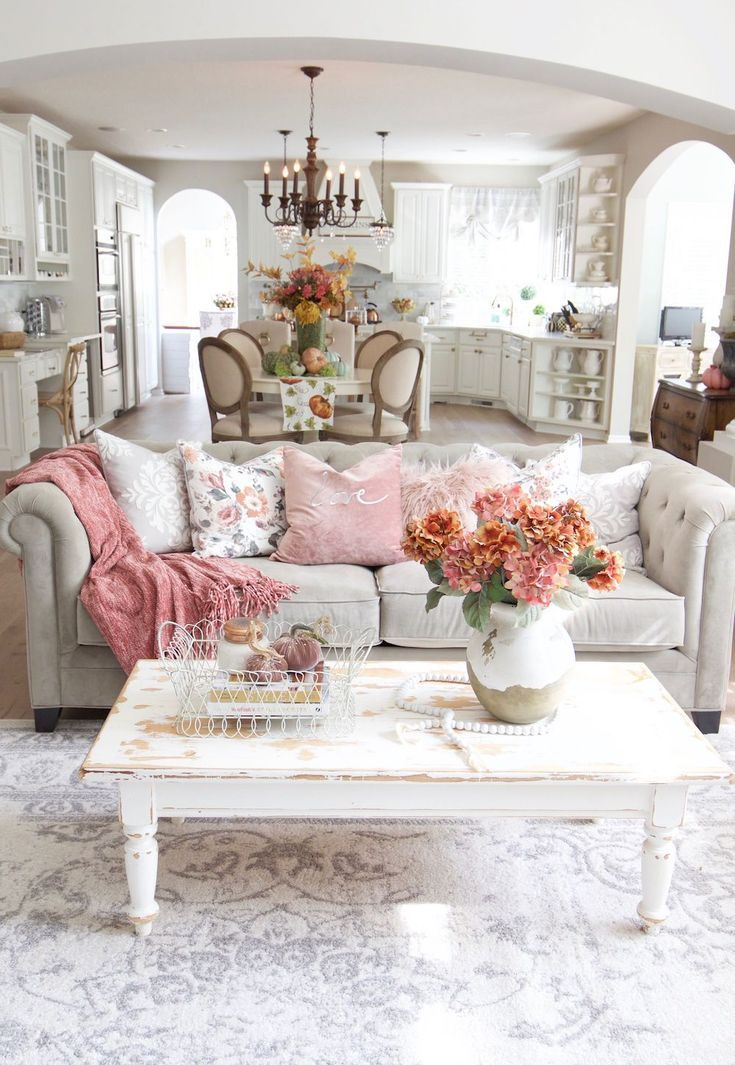 French Country Throw Pillows On Beige Sofa With Vintage White